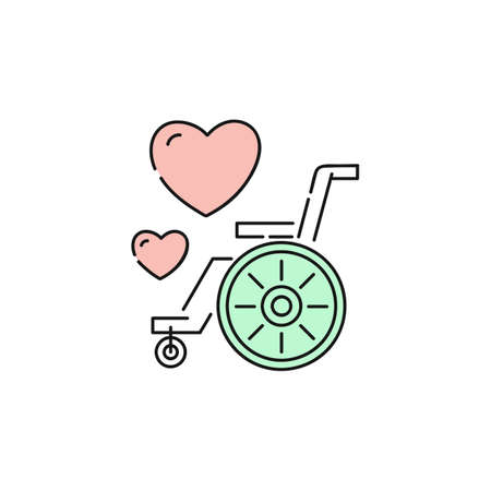 Charity icon for disabled people care and support organisation. Pink love heart signs above cartoon flat wheelchair with green wheel, isolated vector illustration on white background