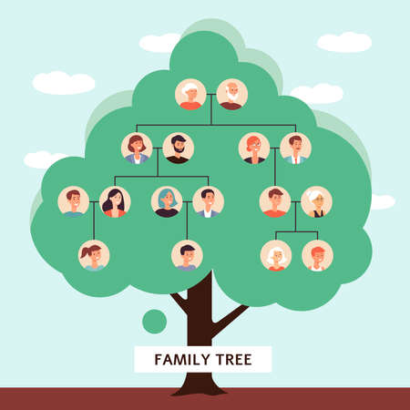 Family tree with cartoon drawings of old father and mother starting a genealogy chain of children, big lineage of people in generation lines - flat vector illustration
