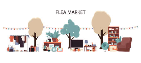 Flea market - flat cartoon furniture and clothes set on outside garage sale, hand drawn TV, books, chair, luggage sold on street stall, isolated flat vector illustration on white background