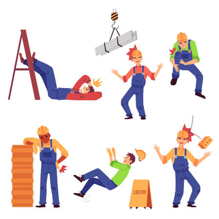 Accident and injury at work set with construction worker male character, flat vector illustration isolated on white background. Safety working environment and insurance.
