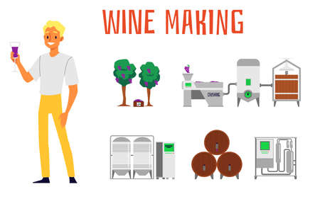 A set of the making and production of wine with grapes and a winery, barrels and a vineyard, with a caucasian man blond sommelier. Isolated flat vector cartoon set of illustrations about making wine.