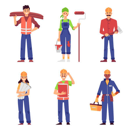 Cartoon set of builder and construction worker people isolated on white background - men and women in uniform standing and smiling - flat vector illustration.