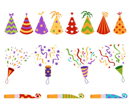 Birthday party hats and blowers with colorful confetti - set, flat vector illustration isolated on white background. Holiday celebration festive elements collection.