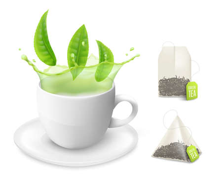 Mockups or templates set of white cup with green tea - drink and leaves and bags in pyramid and square shape realistic. Vector illustration isolated on white background. Ilustração