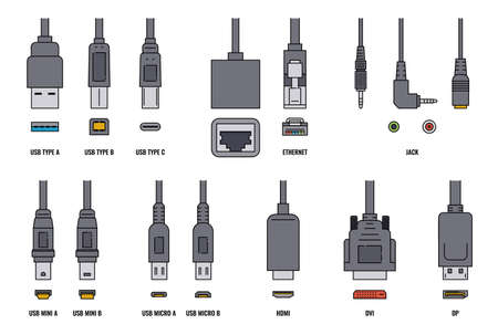 USB cable wire and mobile cell phone plugs set, realistic vector illustration isolated on white background. Charger accessories or electronic devices connect ports.