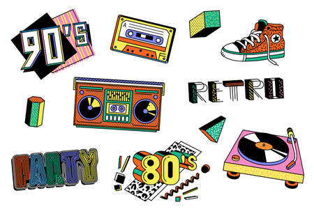Colorful 80s and 90s sticker set - retro boombox, record player, cassette tape and other vintage disco party design elements isolated on white background. Flat vector illustration Ilustrace