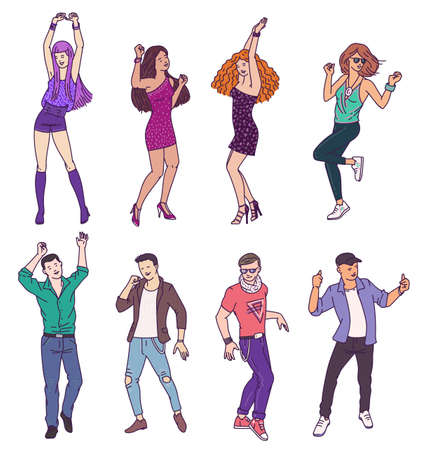 Group of people cartoon characters in sketch style dancing in club, vector illustration isolated on white background. Set of fashionable men and women dancers.
