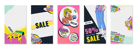 A set of templates for social media posts in pop art style with 80s and 90s fashion elements, cartoon vector illustration. Blog backgrounds with placeholder for photo.