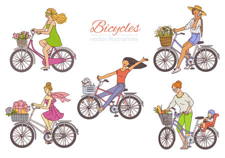 Set of young girls cartoon character riding bicycle, sketch vector illustration isolated on white background. Cute women on bike spring and summer romantic images.