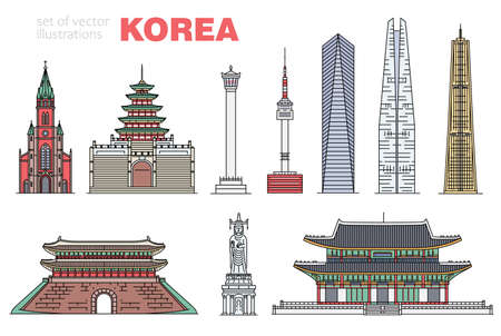 Set of famous modern and ancient historical korean landmarks, sketch vector illustration isolated on white background. Tourist places to visit and sightseeing. 版權商用圖片