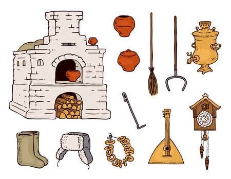 Traditional old Russian object drawing set - balalaika, wood stove and other folklore symbols isolated on white background. Retro Russia culture - flat vector illustration.
