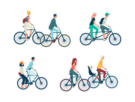 Set of people characters riding bike and couples on tandem bicycle together, flat vector illustration isolated on white background. Active recreation and leisure.