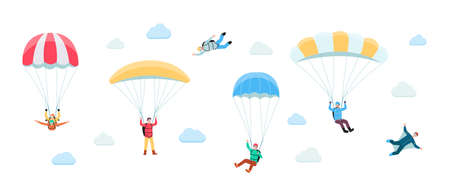 People planing on parachute in clouds, flat vector illustration isolated on white background. Skydiving and parachute extreme sport activity banner or poster template. Illustration
