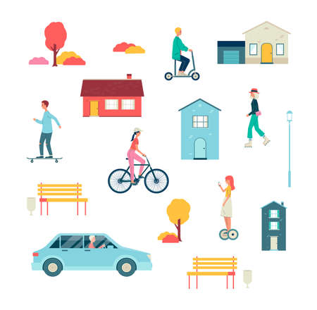 Set of people riding various vehicles - scooter roller skates bicycle car gyro scooter and skateboard. Activities of people at leisure or weekends. Flat vector isolated illustrations.