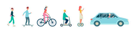 Cartoon people riding different types of transport - car and bicycle, scooter and hoverboard,  blades and skateboard. Isolated set - flat vector illustration.