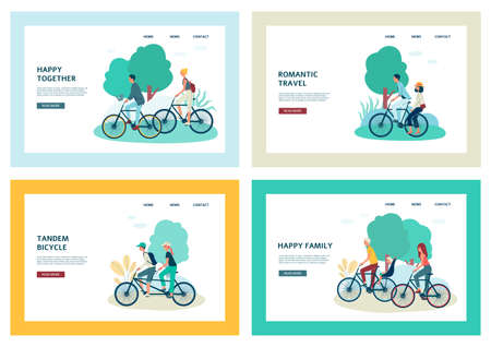 Set of banner templates with people characters riding bike, flat vector illustration isolated on white background. Active recreation and summer bicycle trips.