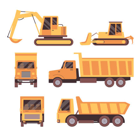 Flat yellow truck set isolated on white background - front and side view of construction industry vehicles. Tractor, excavator and lorry - vector illustration.