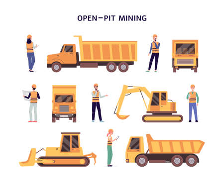 Open pit mining set with construction equipment symbols or icons, flat vector illustration isolated on white background. Construction industrial machinery and workers. Illusztráció