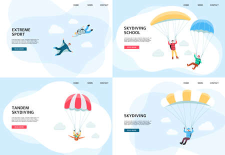 Skydiving school and parachute jumping banner or landing page templates set, flat vector illustration isolated on white background. Extreme sports and active recreation.