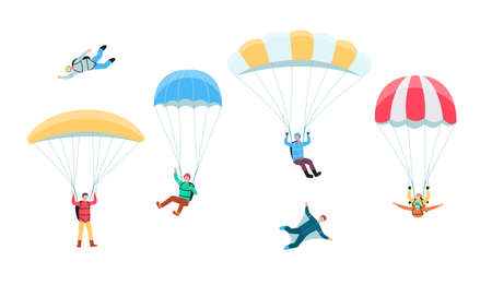 Parachuting skydiver set - cartoon people jumping and flying with different types of parachute. Tandem skydiving, paragliding, wingsuit etc. - flat isolated vector illustration.