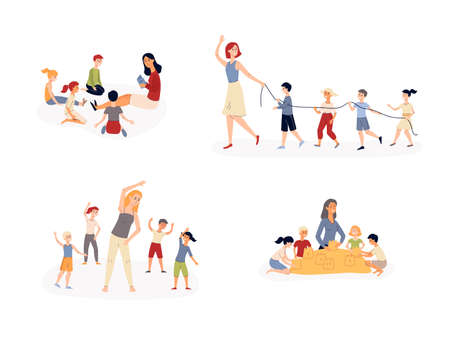 Kindergarten activity set - cartoon kids and teachers reading a book, doing exercises and playing together. Children in preschool - flat isolated vector illustration