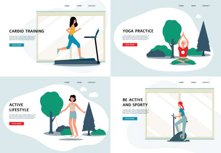 Women doing sport - flat banner set with female athletes running on treadmill and stationary bike, doing yoga and skipping with jump rope in nature. Vector illustration. Illustration