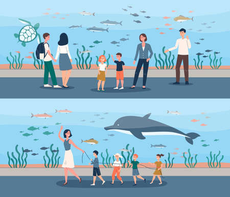 People at giant fish aquarium - school trip with female teacher and cartoon family with children looking at sea animals in big water tank. Flat banner set - vector illustration. Illustration
