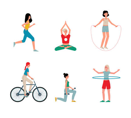 Women cartoon characters performing various sport activity set, flat vector illustration isolated on white background. Young girls doing sport exercises and yoga. Illustration