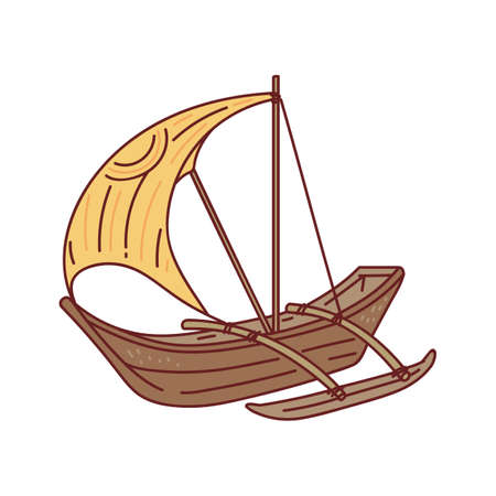 Brown wooden boat with yellow sail isolated on white background - little cartoon sailboat ship for marine adventure or fishing. Flat vector illustration.