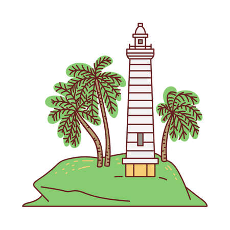 Galle sea fort lighthouse - Sri Lanka famous landmark, sketch cartoon vector illustration isolated on white background. Icon or symbol for tourist promo brochure.