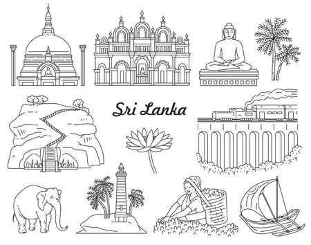 Sri Lanka famous tourist world landmarks icons set drawn in black line, sketch cartoon vector illustration isolated on white background. Elements of travel places.