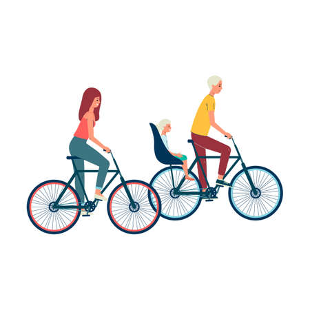 Family with child characters riding bicycle together, flat vector illustration isolated on white background. Healthy active lifestyle and sport recreation concept.