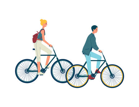 People young man and woman cartoon characters riding bicycle, flat vector illustration isolated on white background. CIty transportation and sport activity. Illustration