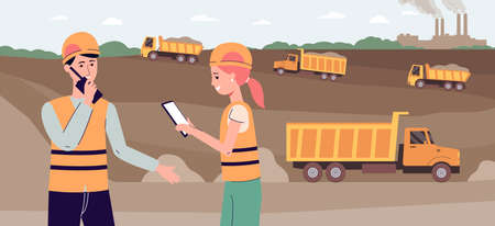 Workers in industrial excavation site - cartoon people using modern technology to manage quarry pit with trucks. Happy industry staff - flat vector illustration. Vettoriali