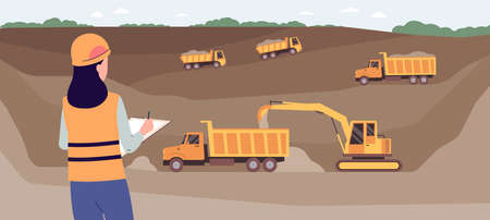 Landscape background with open pit coal mine and excavator pours coal into the trucks, flat vector illustration. Mining of ore and valuable land resources.