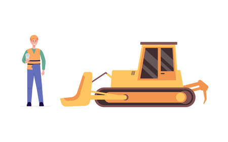 Yellow bulldozer and industry worker - cartoon man in safety uniform standing near heavy machinery and holding paper scroll. Flat vector illustration isolated on white background Illusztráció