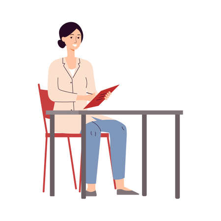 Female doctor sitting behind desk and writing in notebook - cartoon woman in medical uniform smiling isolated on white background. Flat vector illustration. 矢量图像
