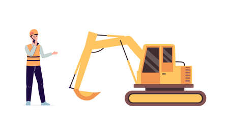 Construction worker man and yellow excavator isolated on white background - cartoon builder standing by industrial machine and talking on radio. Flat vector illustration