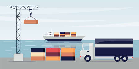 Ship port with cargo containers and loading dock crane and truck - flat banner of industrial transportation equipment. Flat vector illustration.