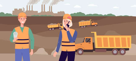 Industrial excavation site with moving trucks and two industry workers talking on radio and holding paper document. Man and woman in open cut mining pit - flat vector illustration. Vettoriali