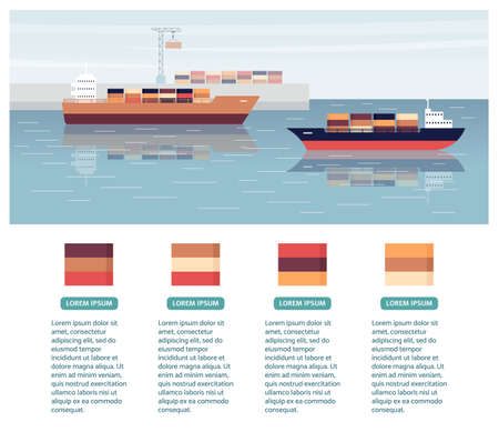 Cargo export shipping banner with ships in port, flat vector illustration isolated on white background. Goods delivery and freight transportation, commercial transport.