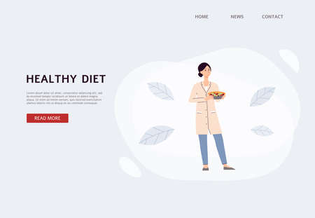 Healthy diet banner with dietolog cartoon character, flat vector illustration. Weight loss program, diet planning and nutritionist prescribing concept.