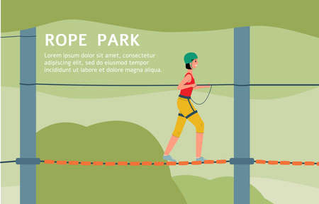 Rope park adventure advertising web banner or landing page background with visitors woman cartoon character climbing on cord ladders, flat vector illustration.