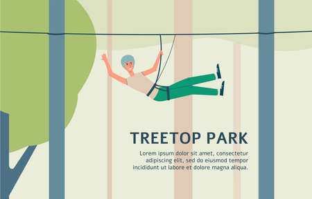 Treetop park banner with man riding zip line rope with safety harness and helmet. Outdoor summer entertainment course ad template - flat cartoon vector illustration.