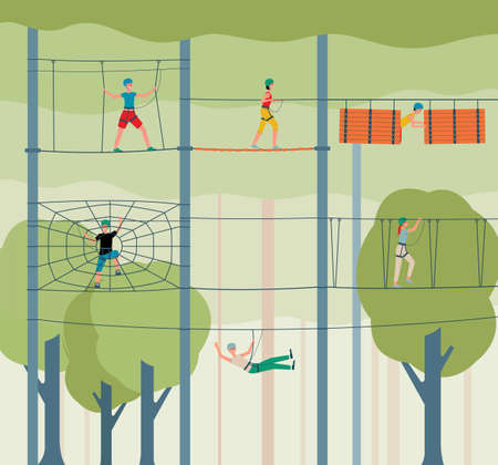 Adventure rope park background with people cartoon characters climbing rope ladders, flat vector illustration. Sport entertainment and extreme activity concept.