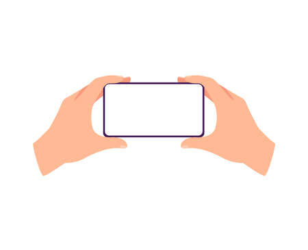 Horizontally placed in hands mobile phone with blank screen, flat cartoon vector illustration isolated on white background. Empty smartphone touchscreen in arms.