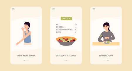 Food and diet app interface set for hydration, calorie count and protein intake control. Cartoon woman eating, drinking and counting calories - flat isolated vector illustration.