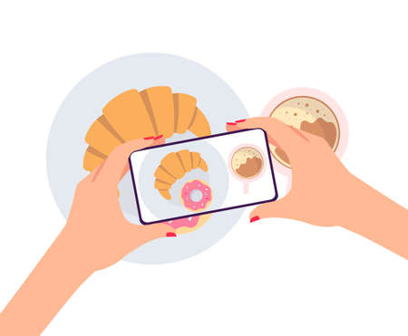 Womans hands taking photo of breakfast on smartphone - top view of camera on phone pointed at coffee, croissant and donut meal. Flat isolated vector illustration.