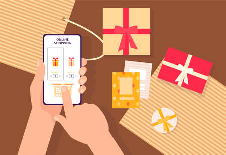Online shopping app - hand pressing Buy button on phone screen above table with present boxes and cards. Holiday shopping on smartphone - flat vector illustration.