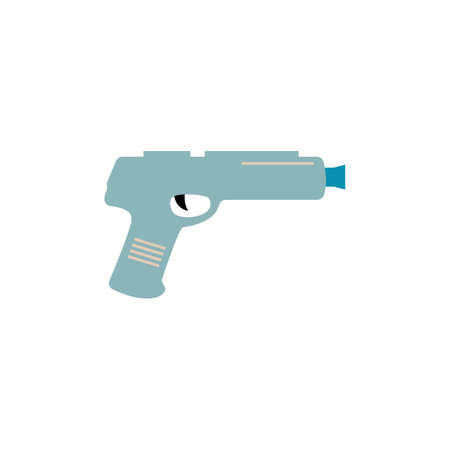 Blue toy gun for laser tag game isolated on white background - flat vector illustration of cartoon gaming weapon from side view. Illusztráció